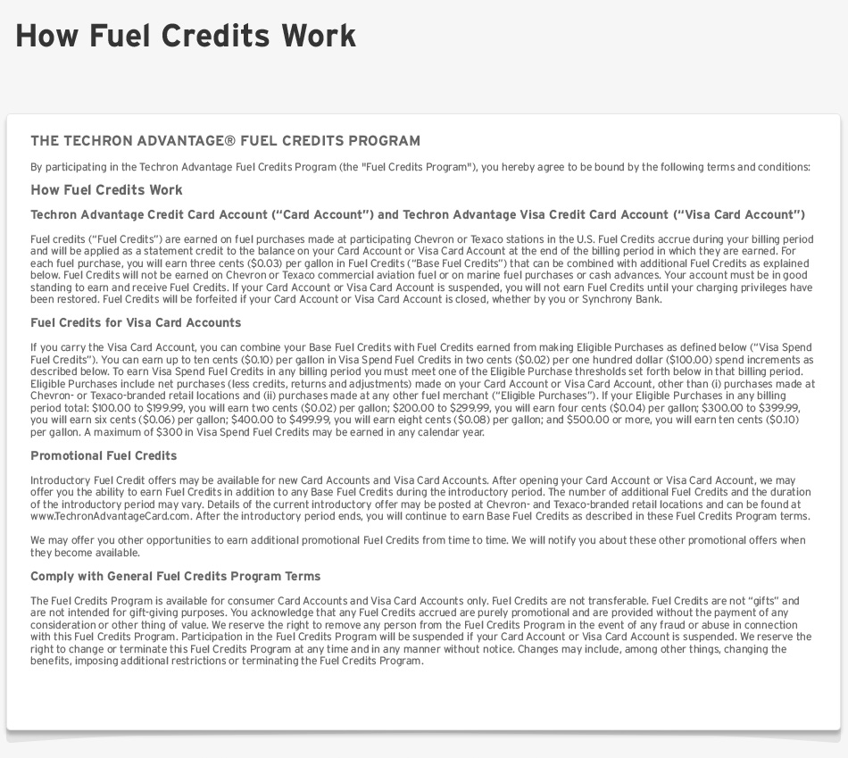 Chevron and/or Texaco Techron Advantage Credit Cards